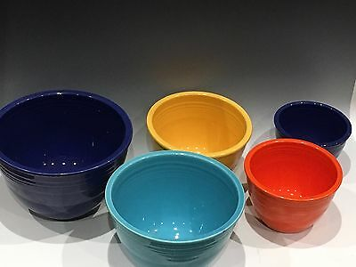 Set of 5 Nesting 1930s Vintage Fiestaware Mixing Bowls, Excellent Condition!