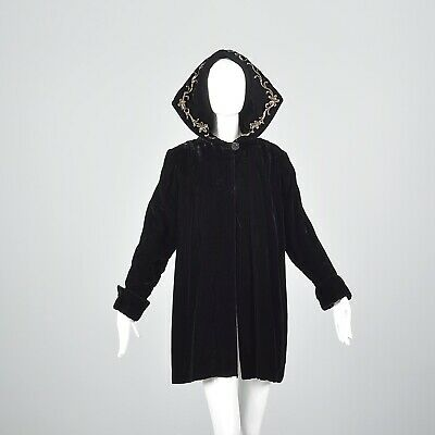 1940s Sequin Hood Black Velvet Loose Autumn Winter Swing Coat Hooded VTG 40s