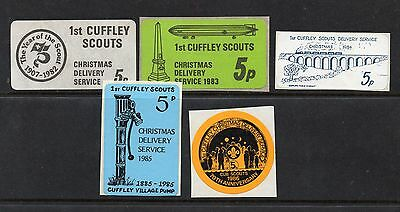 1st Cuffley Scout Post Unused Christmas Labels x 5 For 1982-83-84-85-86