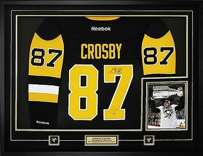 Sidney Crosby Penguins Signed Framed RBK Black Gold 3rd Jersey W/2016 Cup Patch