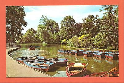 Boating Lake, Abbey Park, Leicester. Postcard.