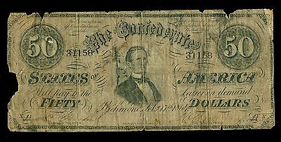 1864 $50 Bill Confederate States Currency Civil War Note Csa Paper Money T-66