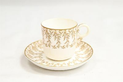 Antique Royal Doulton Porcelain Demitasse Cup & Saucer Brown Vines Design