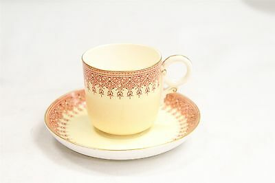 Antique Royal Doulton Porcelain Demitasse Cup & Saucer Red Rampart Rim Design