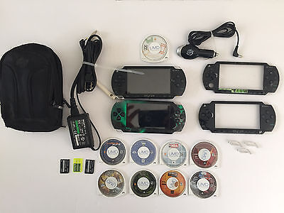 Sony PSP Video Game Lot ~ 2 PSP Consoles, 8 Games, Bag and Repair Parts