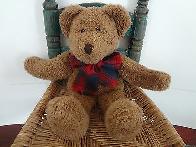 """Boyds Bears in the Attic brown bear red plaid scarf plush 13"""""""