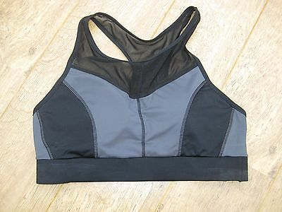 Ladies 'workout' Black/grey Size 14/eur42 Sports Bra Padded Supportgood/clean