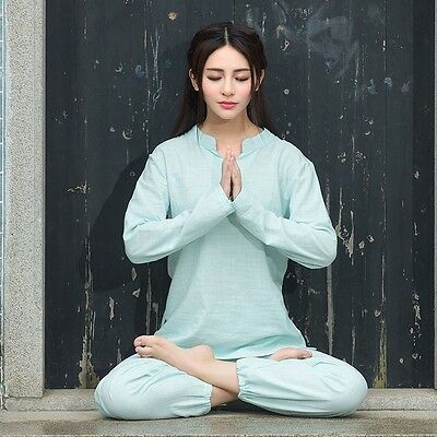 Lady Fitness Yoga Kung Fu Suits Cotton Linen Top Pants Tai Chi Martial Art Solid