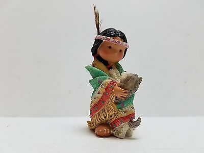 """dances With Wolf"" Indian Boy With Wolf Figurine"
