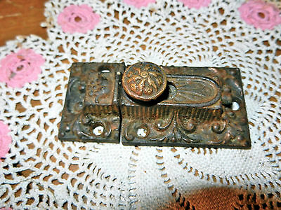 ANTIQUE BRASS EMBOSSED CABINET CUPBOARD DOOR LATCH HARDWARE Working Condition