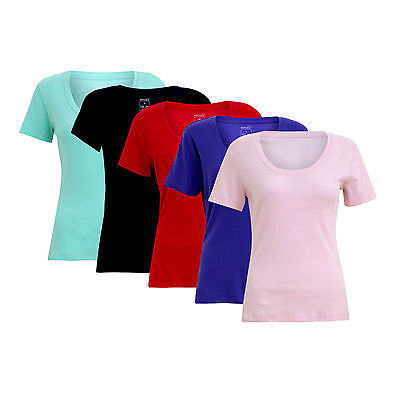 New Womens Ladies T-Shirt Scoop Neck Top Plain Sleeve Tee New Size 100% Cotton