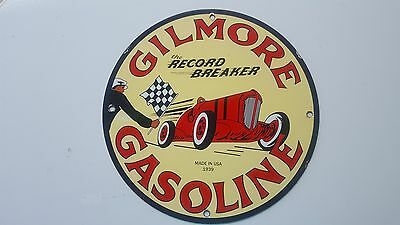 Gilmore Record Breaker porcelain gas pump sign garage station lube can