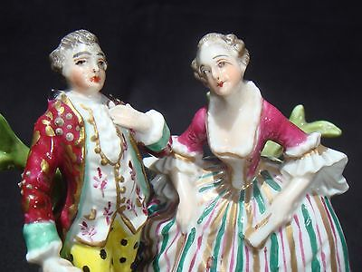 ~ Dresden, Saxony ~ Antique Porcelain Miniature Figurines ~  Companion Pair ~