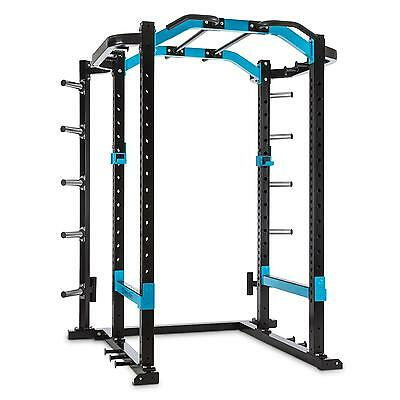 Multifunctional Home Gym Power Rack Safety Spotter J Cups Blue Steel Chin Up New