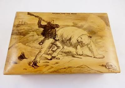 Antique 19th C Wooden Box - Horatio Nelson And The Bear - Military / Nautical