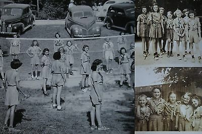 GIRL SCOUT CAMP BROWNIES 1940s Vintage Photos IDs TeePee Volleyball Cars LOT x10