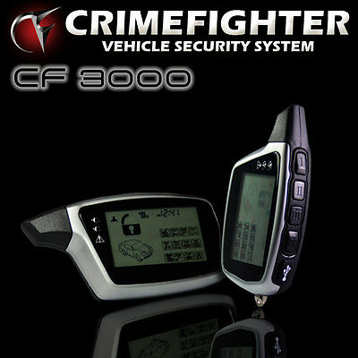 CRIMEFIGHTER CF3000 Two Way LCD Pager Car Alarm System Turbo Timer Remote Start