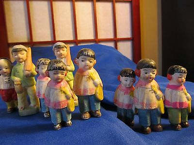 Vintage Bisque Lot Of 9 Oriental Children Made In Japan Beautiful Faces!