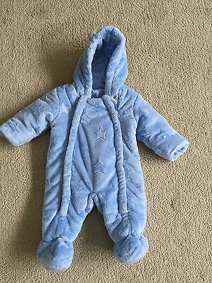 Baby Boys All In One Snowsuit Soft Blue Padded 0-3 Months