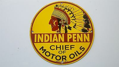 Indian Penn Motor Oil porcelain gas pump sign Chief car garage station lube can