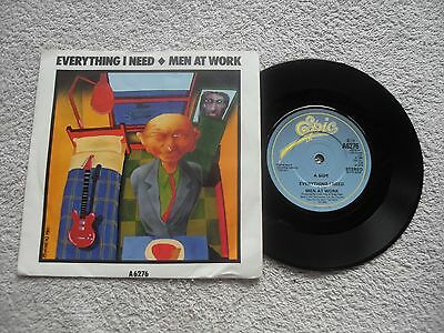 """MEN AT WORK EVERYTHING I NEED EPIC RECORDS UK 7"""" VINYL SINGLE in PICTURE SLEEVE"""