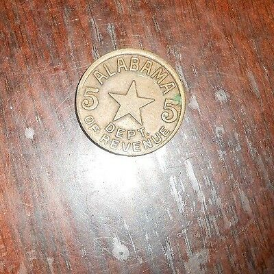 Nice Alabama Dept. Of Revenue 5 Cents Sale Tax Token