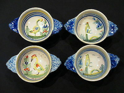 Set Of 4 Small French Hr Quimper Bowls Porringers With Hand Painted Birds