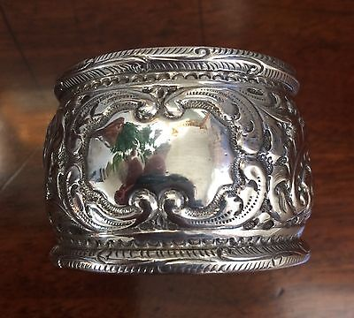 Heavy Victorian Embossed Silver Napkin Ring (1896) - excellent quality
