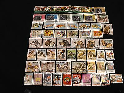 57 Stamps from Mozambique, All Used - Free US shipping, $1 more Worldwide.