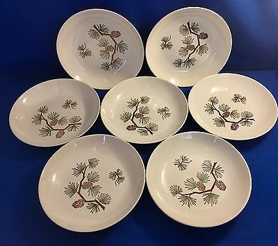 Set of 7 Vintage 1950s MARCREST Stetson Brown PINECONE Flat Soup Salad BOWLS USA