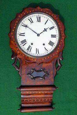 Antique Walnut Double Scroll Ansonia Drop Dial Wall Clock