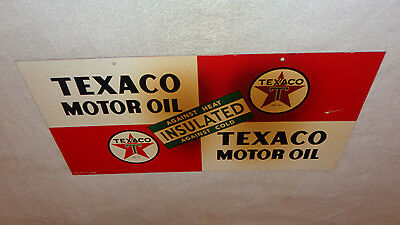 """Antique Texaco Insulated Motor Oil 21.5"""" X11.25"""" Double Sided Metal Gas Oil Sign"""