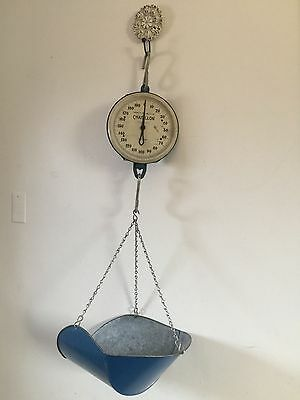 Vintage CHATILLON Hanging Industrial Hoist Scale 0-200 lb Type 238 NY, USA Farm