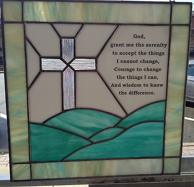 Stained Glass  Panel Verse/Quote BEAUTIFUL Hand Made Serenity Prayer