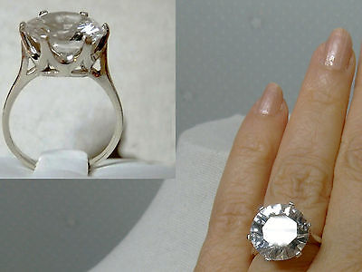 10ct white sapphire 13mm 925 sterling silver ring size 10 USA