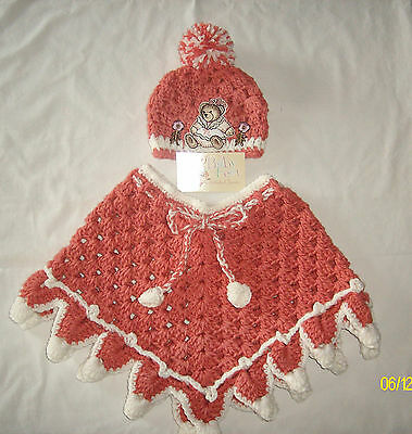Girls 2T to 3T Baby Feet Coral & Cream Crochet Poncho & Hat Set
