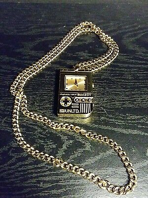Marc Ecko The Ecko Boy Dog Tag II Gold Tone Stainless Steel Link Necklace Watch