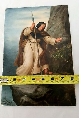 Antique German Hand Painted Porcelain Plaque of Traveler Signed by  A. Slocomb