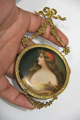Beautiful 19th Century Hand-painted Porcelain Plaque of Long Haired Gypsy Girl