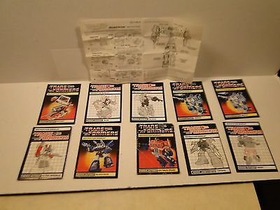 Transformers G1 Generation 1 lot of Instruction Sheets
