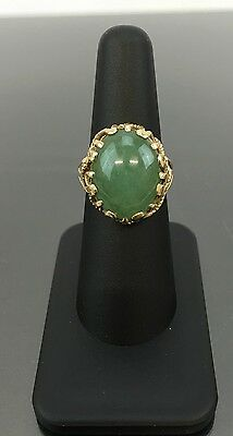 Gorgeous Antique Chinese Jade 14 K Ring With Spinach Jade Stone