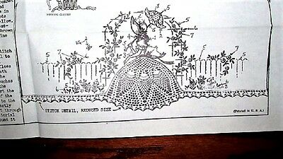 Vtg Southern Belle Colonial Lady Embroider Crochet Pillowcases Transfer Pattern