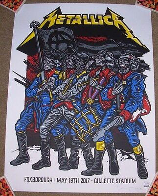 METALLICA concert gig poster FOXBOROUGH 5-19-17 2017 Tour Ames Bros ament sn/AP