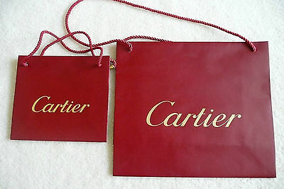 Authentic 2 Cartier Red Paper Shopping Gift Bags with Rope Handles