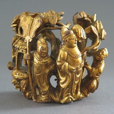 Fine Antique Chinese Carved And Gilt Wooden Decoration