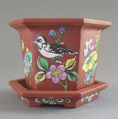 Lovely Yixing Bonsai Cache Pot Or Planter With Famille Rose Decoration