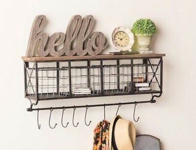 """32"""" Black Metal & Wood Shelf with Baskets & 8 Hooks Country Chic Home Wall Decor"""