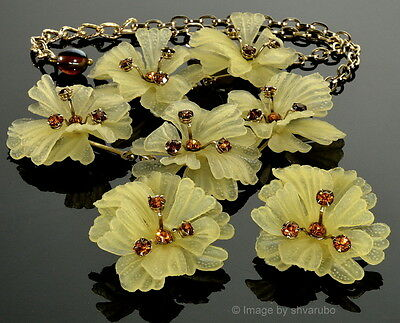 Vtg 30's Celluloid Flowers Rhinestone Stamens Necklace Earrings Set