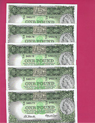 Consecutive 5 Commonwealth 1961 [R34a] Coombs Wilson Reserve Bank One Pound Note