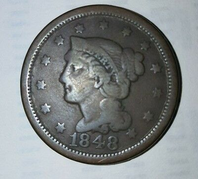 1848 Braided Hair Large Cent Coin